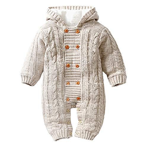 Atezch Newborn Warmer Snowsuit Cotton Hooded Romper Jumpsuit, Thick Warm Infant Newborn Knitted Sweater Jumpsuit Hoodies Outerwear Winter Clothes for Boys and Girls (Khaki, 66)