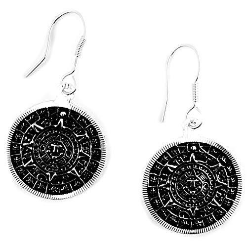 Pendientes Artesanales de Plata 925 con grabado del calendario azteca hechos en el pueblo de Taxco, México. Peso: 3.50g.
