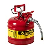 Justrite 7220120 - Galvanized Steel, AccuFlow Type II Red Safety Can with 5/8' Flexible Spout, Large ID zone, Meets OSHA & NFPA For Handling Hazardous liquids. . 2 Gallon (7.5L) Size.