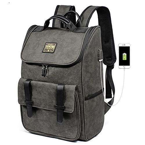 TEEMZONE Zaino da uomo business con porta di ricarica USB 3.0, impermeabile, borsa per laptop da 15,6', tela mimetica, 25 l, GR (Verde) - UT8018150001AD
