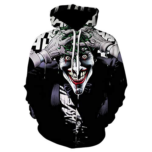 tangximing Sudadera con Capucha Unisex Joker Clown Movie Hoodie Suicide Squad 3D Print Funny Pullover Sudadera con Capucha Hombres Mujeres Moda Casual Pullover Hoodies with Big Pockets_Wml00057Gc_2XL