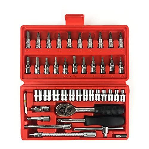 Juego de llaves combinadas (46 piezas, 1/4', 1/4', 21 puntas de destornillador, 1/4', llave Allen DR de 1/4', estuche de transporte)