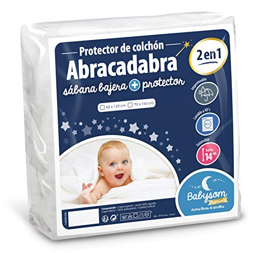 Babysom - Protector Colchón Cuna Bebé «2 en 1» - 60x120 cm - Sábana bajera + Funda Protectora Impermeable - 100% Algodón - Transpirable - Antiasfixia
