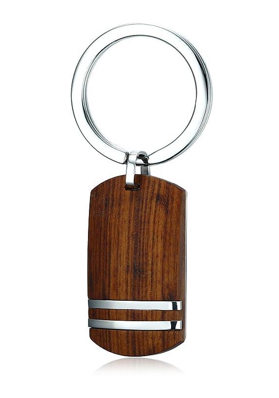 PJ Jewelry Stainless Steel Hawaiian Koa Wood Dog Tag Keychain with Key Ring