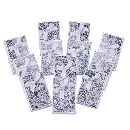 NBEADS 24Stück Schmuck-Geschenkboxen Aus Papier Für Schmuckauslagen, Ringe, Kleine Uhren, Halsketten, Ohrringe, Armband. Geschenkverpackungsbox, 8,4 × 5,3 × 2,5 cm Silber