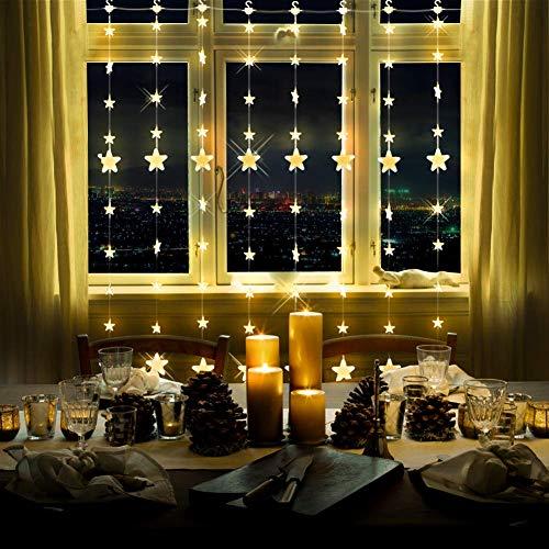 LED Lichtervorhang Sternenvorhang Lichterkette 8 Modi mit Fernbedienung Innen Außen Mond Sterne Vorhang Lichter Für Weihnachten,Party,Hochzeit,Garten, Balkon Deko (144 LED)