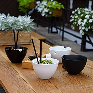 Kenley Noodle Soup Bowl Set - Two 35 oz Large Bowls with Handles for Japanese Ramen Asian Noodles Udon Miso Pho Thai Curry - Bamboo Chopsticks & Ceramic Spoons - Microwave & Dishwasher Safe Porcelain
