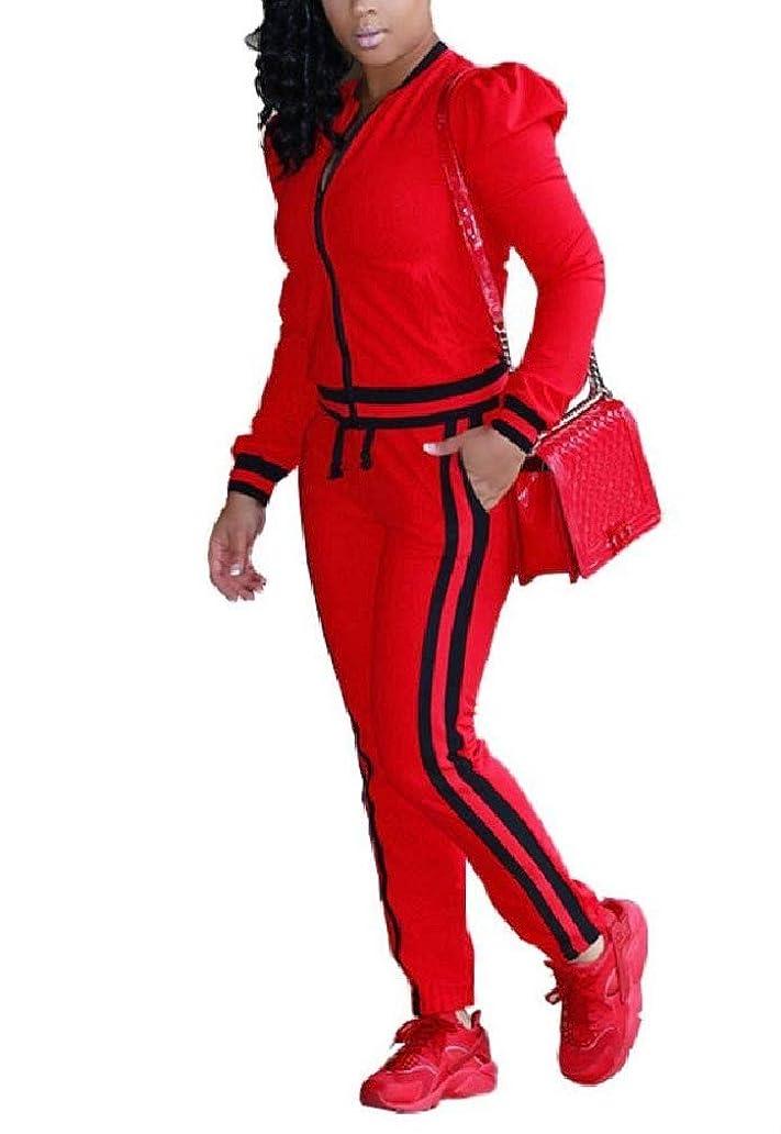 瞬時に概念無臭VITryst Women Long-Sleeve 2pcs Pants Color Block Workout Athletic Suit Set