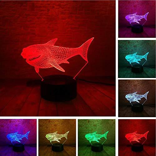 3D Shark Nachtlicht Optische Täuschung Tischleuchte Lampe Stimmung Touch 7 Farbe Für Kinderheim Licht Party Decor Freund & Urlaub Geschenk Fernbedienung