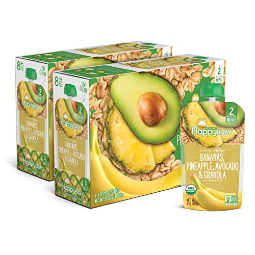 Happy Baby Organic Clearly Crafted Stage 2 Baby Food Bananas, Pineapples, Avocado & Granola, 4 Ounce Pouch (Pack of 16) (Packaging May Vary)