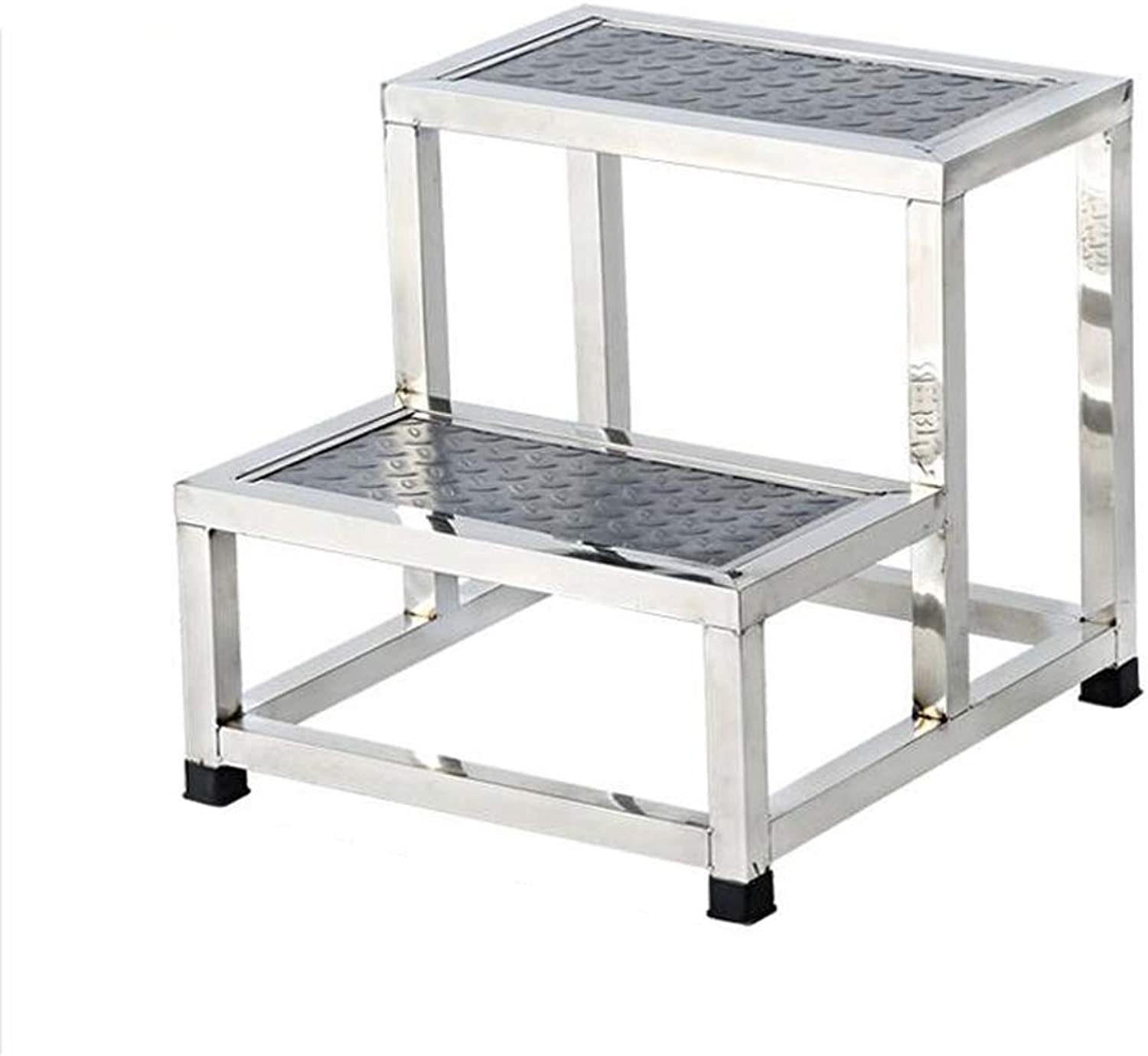 WaWei Step Stool Hospital Check Double Step Stool Home Clinic Two Step Stainless Steel Step Ladder Step Stool Small Staircase Step Stool (Size   40CM×45CM×40CM)