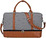 S-ZONE Women Canvas Weekender Bag Overnight Carryon Duffel Tote PU Leather Strap(Large)