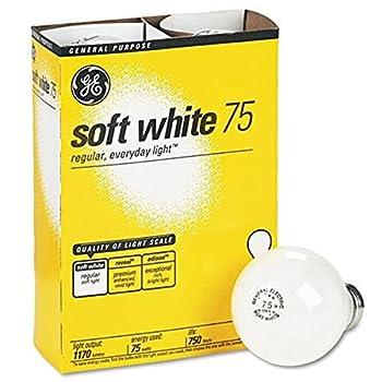GE 41032 Incandescent Globe Soft White Bulbs 75 Watts 4/Pack