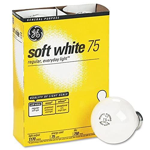GE 41032 Incandescent Globe Soft White Bulbs, 75 Watts, 4/Pack