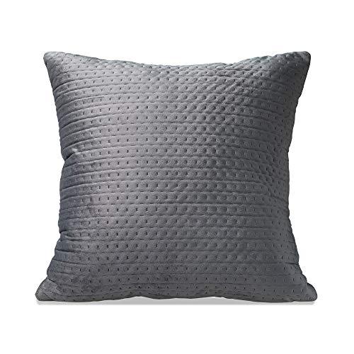 Moyun Weicher gesteppter Samt-Kissenbezug, dunkelgrau, quadratisch, für Wohnzimmer, Sofa, Schlafzimmer, dekorativ, 45 x 45 cm