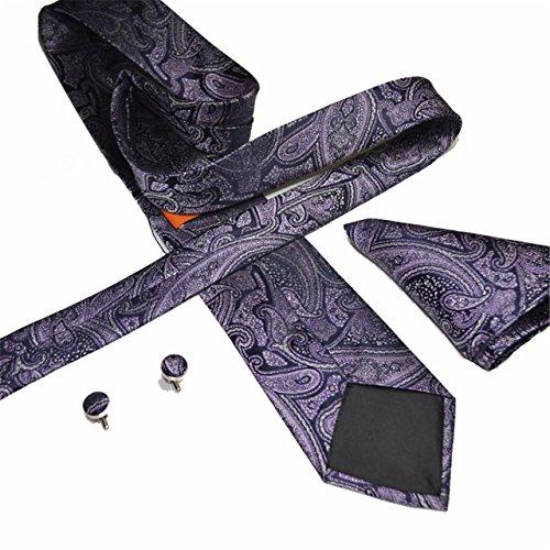 HXCMAN 8cm purple floral cravate paisley set 100% soie cravate boutons de manchette poche carré classique design fête de mariage luxe affaires