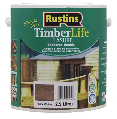 Rustins Timberlife - Lasure pour bois - extérieure - UV et 5 ANS Protection - Chêne foncé - 12m²/L - 2.5 Litre (TLDO2500FR)