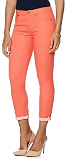 by Diane Gilman Womens' Size 10P Petite Coral Pink Super Stretch Lite Cuff Cropped Skinny Jeans