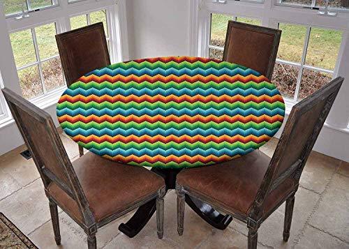 Rond tafelkleed keuken decoratie, tafelblad met elastische randen, Klassieke Stijl Zig Zag Strepen Retro Revival Patroon met Simplistic Design Donker Koraal Wit, fiesta tafelkleed
