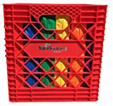 KinderMat, Red Kindercrate, 6 Pack of 13.5' Kindercushions & Sturdy Storage Container, 2' Thick Squares Story Time Cushions, Alternative Seating, Yellow Blue Green RedPurple Orange