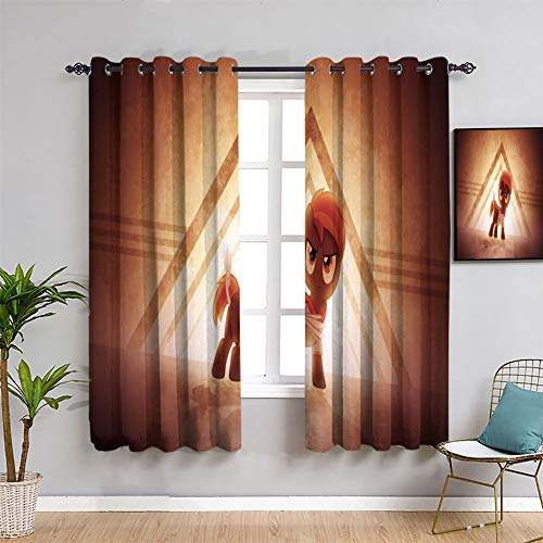 Blackout Curtains My Little Pony Customized Chid Curtains Room Darkening Wide Curtains W55 x L45