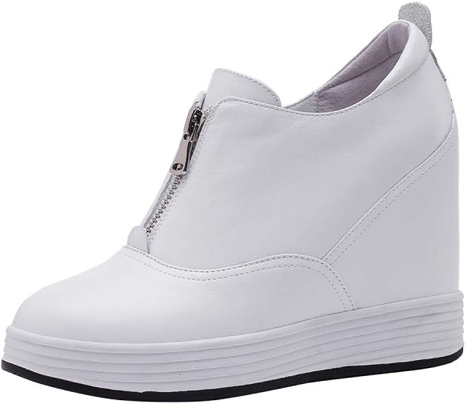 Women's shoes Leather Wedge shoes Invisible Heightening shoes Flat shoes Spring New Athletic shoes Casual Walking shoes White Black,White,35