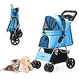 HRKIM Pet Stroller, Cat Dog Stroller with Storage Basket Foldable Lightweight Dog Carrier Trolley Jogging Stroller