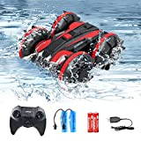 Eilsorrn Waterproof RC Car 2.4Ghz Amphibious Remote Control Car 4WD All Terrain Stunt Vehicle Pool Bathtub Toy, Gift for 5-12 Year Old Boys or Girls,Red