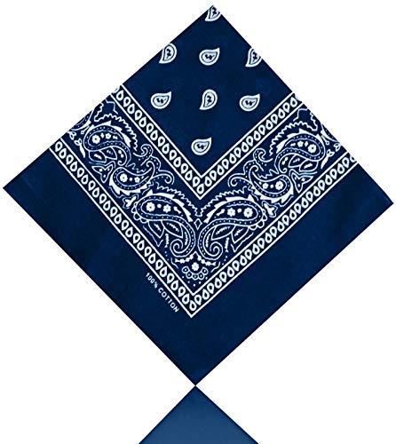 All u need Bandana Muster Scarf Nikki Tuch Kopftuch Cotton 100% Baumwolle Travel Reisen Schal (Paisley Dunkel Blau)
