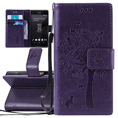 ISAKEN Compatibile con Sony Xperia Z5 Mini Custodia, Libro Flip Cover Portafoglio Wallet Case Albero Design in Pelle PU Protezione Caso con Supporto di Stand/Carte Slot/Chiusura - Violet
