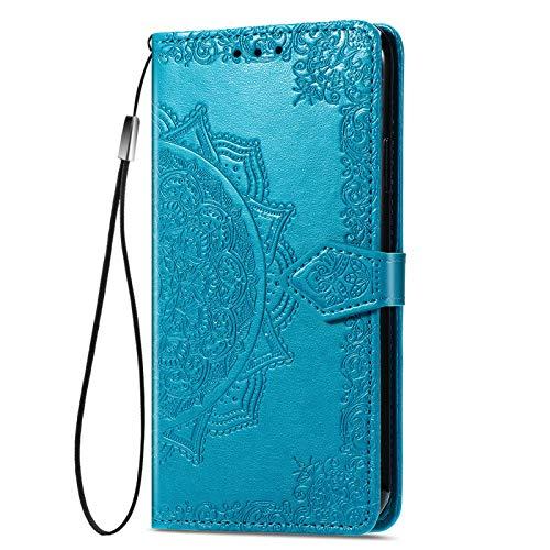 KERUN Hülle für vivo Y72 5G Flip Lederhülle, 3D Mandala Muster Geprägte Prägung Handyhülle, Premium Leder Brieftasche Handytasche Schutzhülle mit Kartenfach Standfunktion.Blau