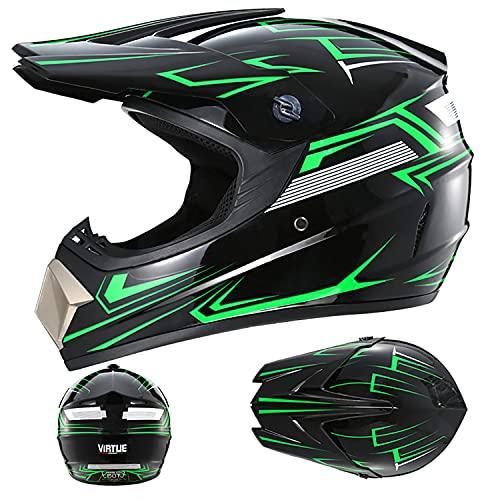 FSYG Casco profesional para barco, casco de motocross, casco de motocicleta, casco de motocicleta, motocicleta, ATV, Scooter motocross, guantes y gafas, B, S