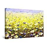 Startonight Cuadro Moderno en Lienzo Pintura Naturaleza, Margaritas de Campo Amarillas y Flores Azules, para Salon Decoración de la Pared Enmarcada Grande 80 x 120 cm