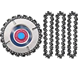 4 Pieces 5/8 Inch Wood Carving Chain Disc, 4 Inch 22 Teeth Saw Blade with 3 Pieces Replacement Circlets for Grinder Chain Disc Grinding Shaping Attachment Circular Chainsaw Wheel