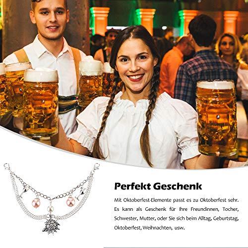 MJARTORIA Damen Oktoberfest Schmuck Set Edelweiß Kette Armband Ohrringe Trachtenkette Charivari mit Perlen 4 Stück - 7