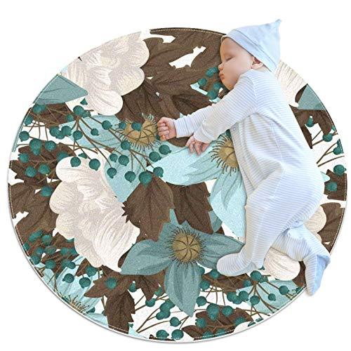 HDFGD Alfombra de área para niñas, habitación de niños, alfombra resistente, lavable, alfombra de dormitorio adolescente, verde menta floral