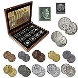 IMPACTO COLECCIONABLES Monedas Antiguas - 12 Monedas + 2 Sellos de Alemania, Colección Segunda Guerra Mundial 1939-1945
