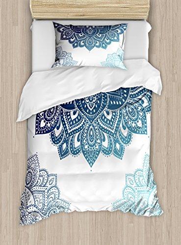 Ambesonne Flora Duvet Cover Set, South Mandala Design with Vibrant Color Ornamental Illustration, Decorative 2 Piece Bedding Set with 1 Pillow Sham, Twin Size, Blue