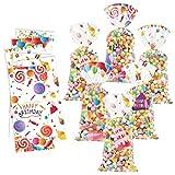 120 bolsas de regalo para fiestas de cumpleaños, con impresión de globos, de plástico transparente, con 120 lazos de plata para decoraciones de fiesta de cumpleaños