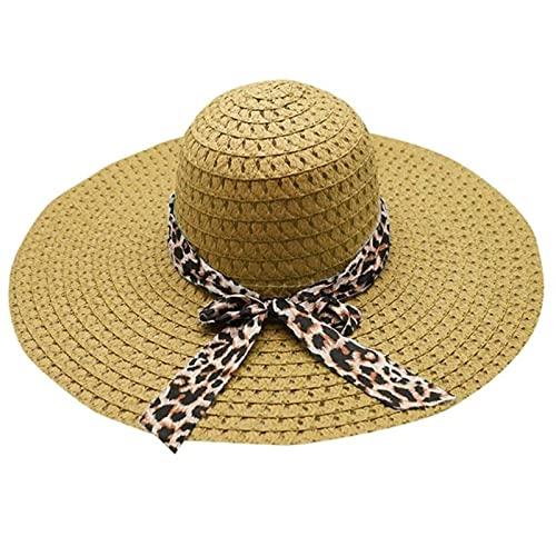 UKKD Sombrero de Playa de Verano Moda Mujer Leopardo Estampado Gran ala Sombrero De Paja Sol Disquete Ancho Sombreros Verano Playa Gorra Sombrero Sombrero De Mujer