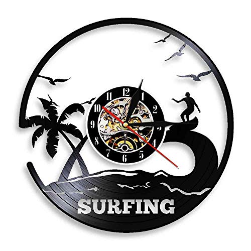 Reloj de Pared con Registro de Vinilo artístico de Surf, decoración de Pared de Surf, Tabla de Surf de Windsurf, Reloj Deportivo con Vista al mar, Reloj de Pared, decoración de 12 Pulgadas