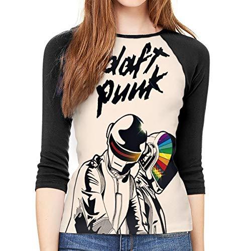 MeiShop Dreiviertelärmelige T-Shirts für Frauen Custom Daft-Punk Raglan T-Shirt Front Print Three Quarter Sleeve T-Shirts Tee for Women