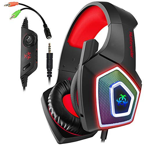 Xbox One Headset with Mic LED Light On Ear Gaming Headphone PS4,3.5mm Wired Gaming Headset for PC Mac Laptop Nintendo Switch Gamer Headphone (Red)