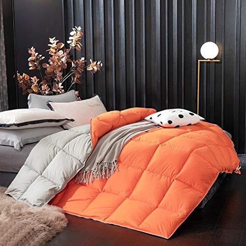 Hahaemall All Seasons Duvet Duvet Anti-Dust Mite & Feather-Proof Fabric, 100% Cotton Down Proof Fabric All Season For All Season Use-150X200Cm-2Kg_Orange Gray