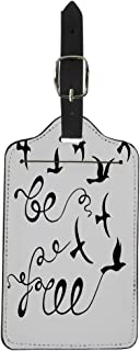 Pinbeam Luggage Tag Be Free Inspirational About Freedom Modern Phrase Suitcase Baggage Label