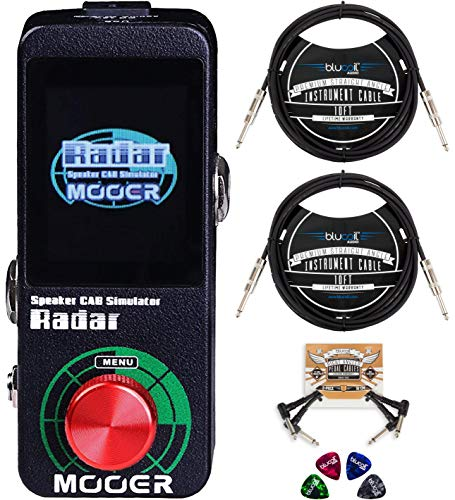 MOOER MSS1 Radar Speaker Cab Simulator Pedal Bundle with 12V Power Supply, Blucoil 2-Pack of 10-FT Straight Instrument Cable (1/4in), 2-Pack of Pedal Patch Cables, and 4-Pack of Celluloid Guitar Picks