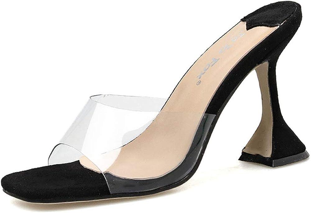 Vimisaoi Women's Slide Sandals, Square Toe Slip On Chunky High Heel Mules Clear Sandals Slippers