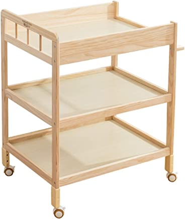 ZAQI Wooden Baby Chaning Table with Storage  Nursery Restroom Large Bath Tub Unit Station with Wheels  80 54 95cm