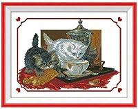 クロスステッチ キット 刺繍 手芸用品お茶を飲む2匹の猫11CT 手芸 Cross Stitch 図柄印刷 初心者 刺繍糸 針 布 家の装飾 壁の装飾(42x53cm)