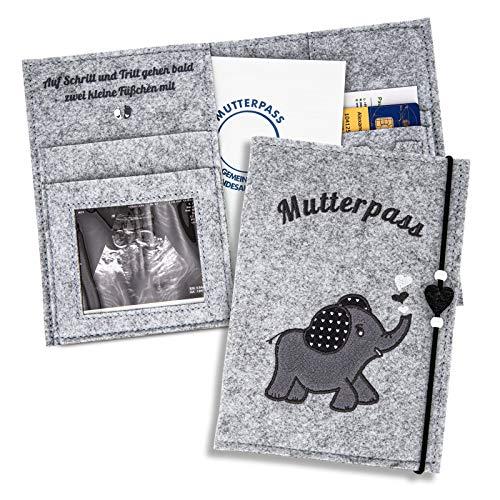 ZWen - Funda para pasaporte de maternidad, diseño de elefante, color gris